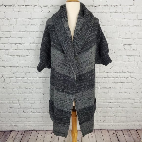 VINCE Gray Black Marled Alpaca Cashmere Duster M
